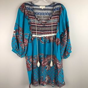 UMGEE USA Turquoise boho Tunic Dress medium